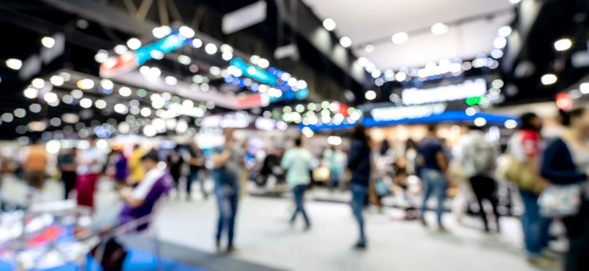 Abstract blurred defocused tradeshow event exhibition, business